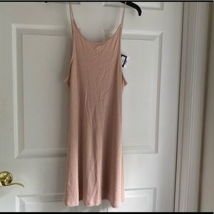 TopShop Pale Pink Ribbed Low Back Spaghetti Dress